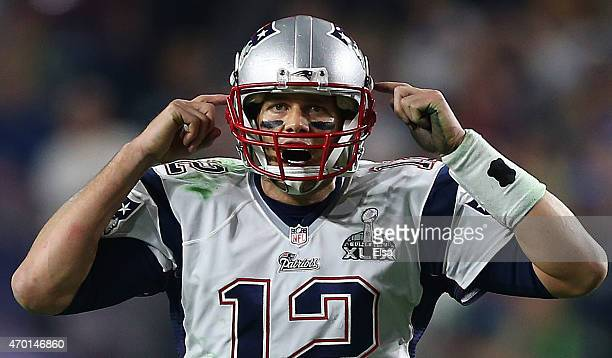 Tom Brady of the New England Patriots reacts against the Seattle Seahawks during Super Bowl XLIX at University of Phoenix Stadium on February 1 2015...