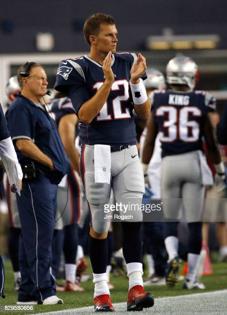 Tom Brady of the New England Patriots reacts on the sideline during a preseason game with Jacksonville Jaguars at Gillette Stadium on August 10 2017...