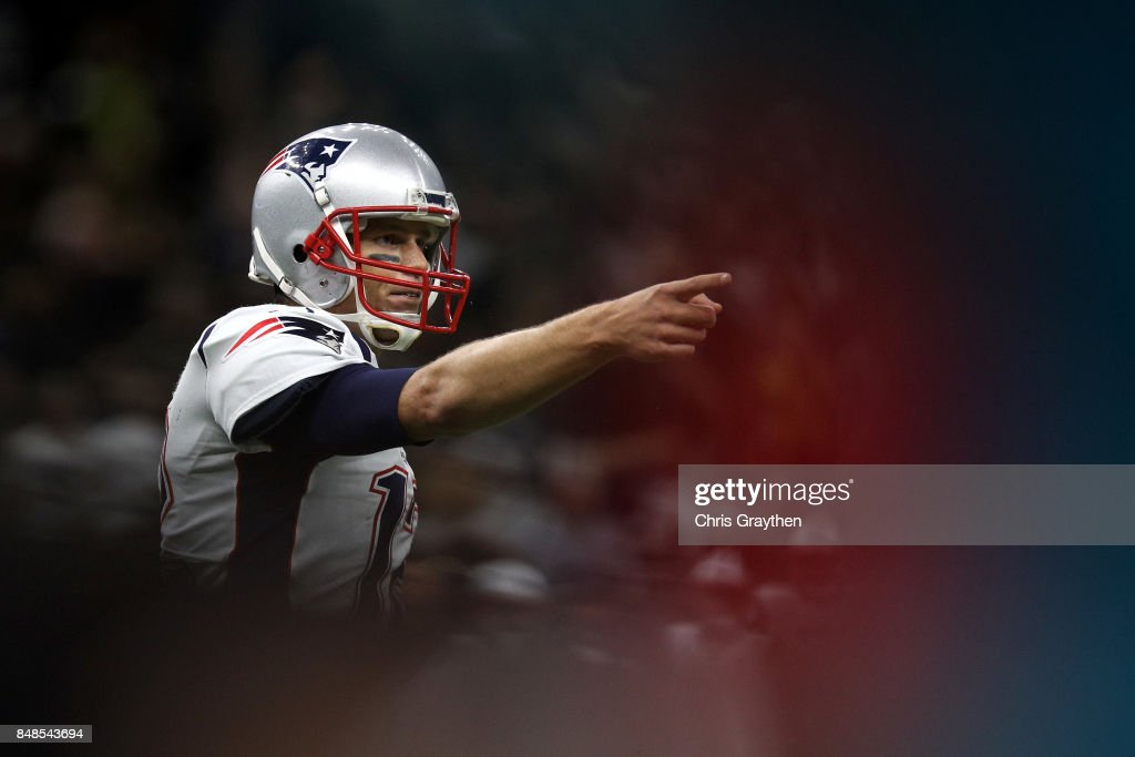 Tom Brady #12 of the New England Patriots reacts to a penalty against the New Orleans Saints at the Mercedes-Benz Superdome on September 17, 2017 in New Orleans, Louisiana.