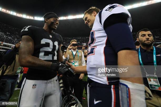 Tom Brady of the New England Patriots shakes hands with Sean Smith of the Oakland Raiders after the game at Estadio Azteca on November 19 2017 in...