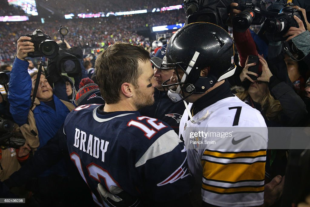 Tom Brady #12 of the New England Patriots talks with Ben Roethlisberger #7 of the Pittsburgh Steelers after the Patriots defeated the Steelers 36-17 to win the AFC Championship Game at Gillette Stadium on January 22, 2017 in Foxboro, Massachusetts.