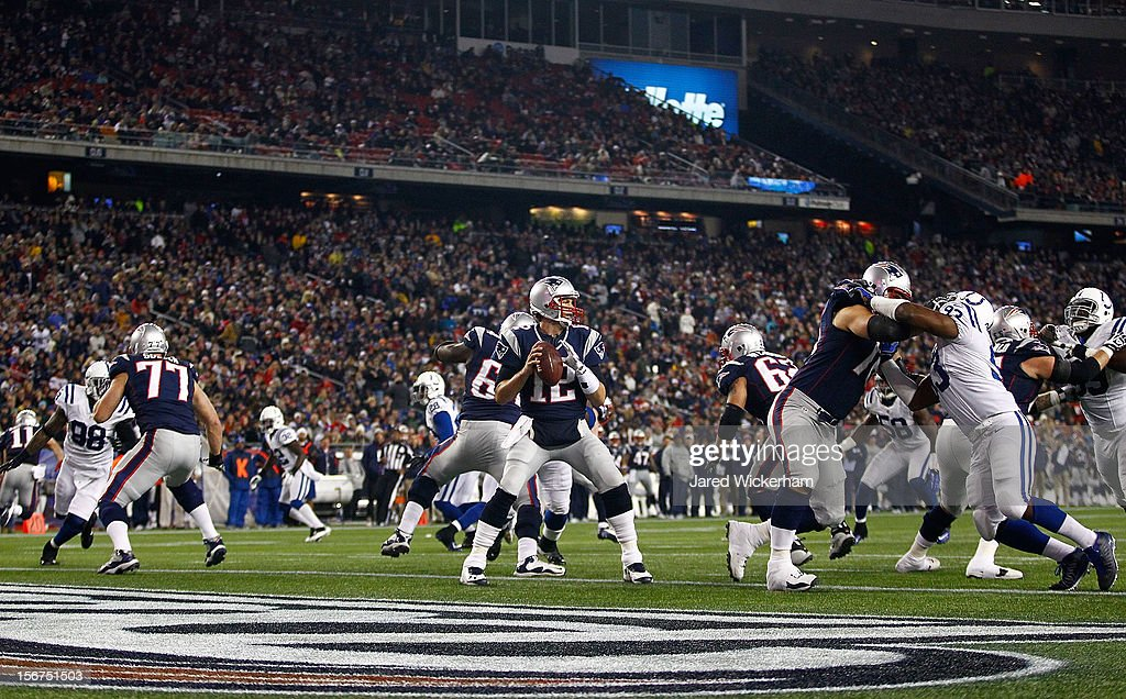 Tom Brady #12 of the New England Patriots throws a pass against the Indianapolis Colts during the game on November 18, 2012 at Gillette Stadium in Foxboro, Massachusetts.