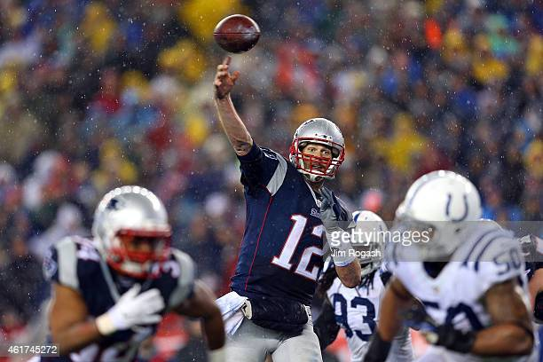 Tom Brady of the New England Patriots throws a touchdown pass to Rob Gronkowski in the third quarter against the Indianapolis Colts of the 2015 AFC...