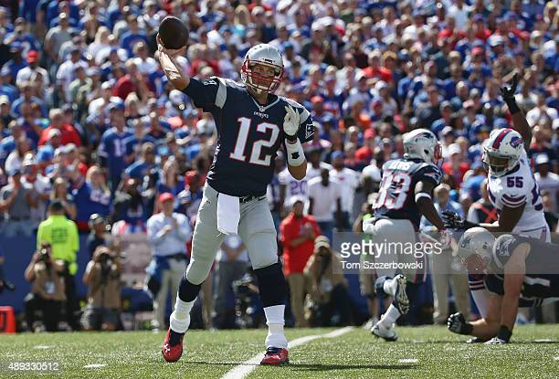 Tom Brady of the New England Patriots throws during NFL game action against the Buffalo Bills at Ralph Wilson Stadium on September 20 2015 in Orchard...