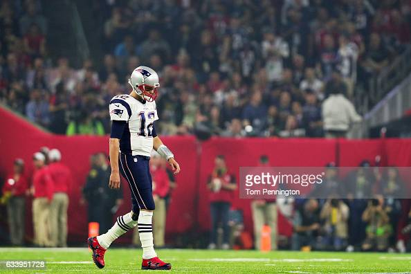 Tom Brady of the New England Patriots walks on the field in the third quarter against the Atlanta Falcons during Super Bowl 51 at NRG Stadium on...
