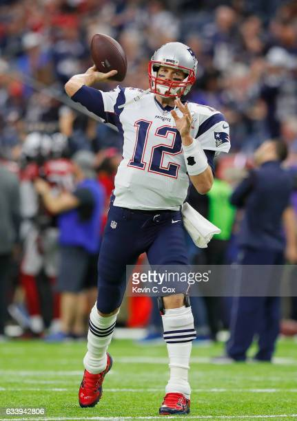 Tom Brady of the New England Patriots warms up prior to Super Bowl 51 against the Atlanta Falcons at NRG Stadium on February 5 2017 in Houston Texas