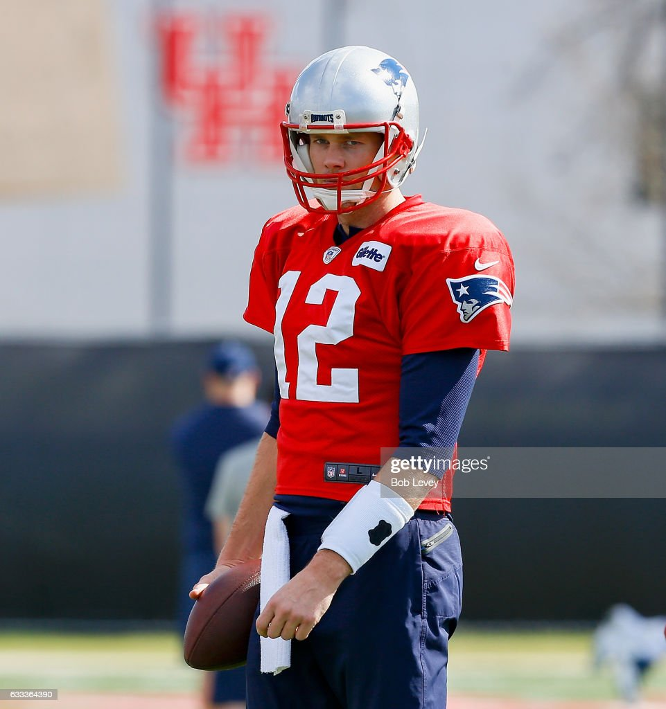 Tom Brady #12 of the New England Patriots works out during a practice session ahead of Super Bowl LI on February 1, 2017 in Houston, Texas.