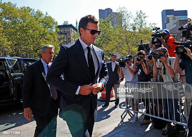 Tom Brady quarterback for the New England Patriots of the National Football League center arrives at federal court in New York US on Wednesday Aug 12...
