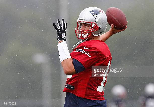 Tom Brady throws during the first day of New England Patriots Training Camp at Gillette Stadium on July 26 2013 in Foxboro Massachusetts
