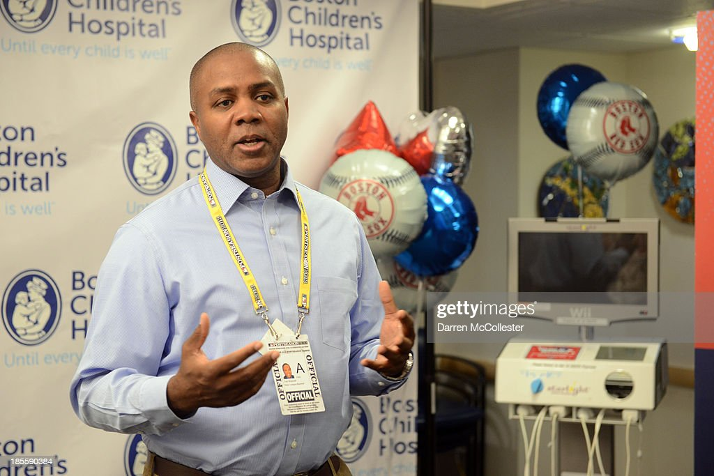 Tom Brasuell, Vice President Community Affairs for MLB and the Boston Red Sox celebrate World Series with Boston Children's Hospital Starlight Fun Center Donation at Boston Children's Hospital on October 22, 2013 in Boston, Massachusetts.
