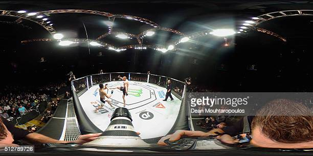 Tom Breese of England and Keita 'KTaro' Nakamura of Japan compete in their Welterweight bout during the UFC Fight Night held at at Indigo at The O2...