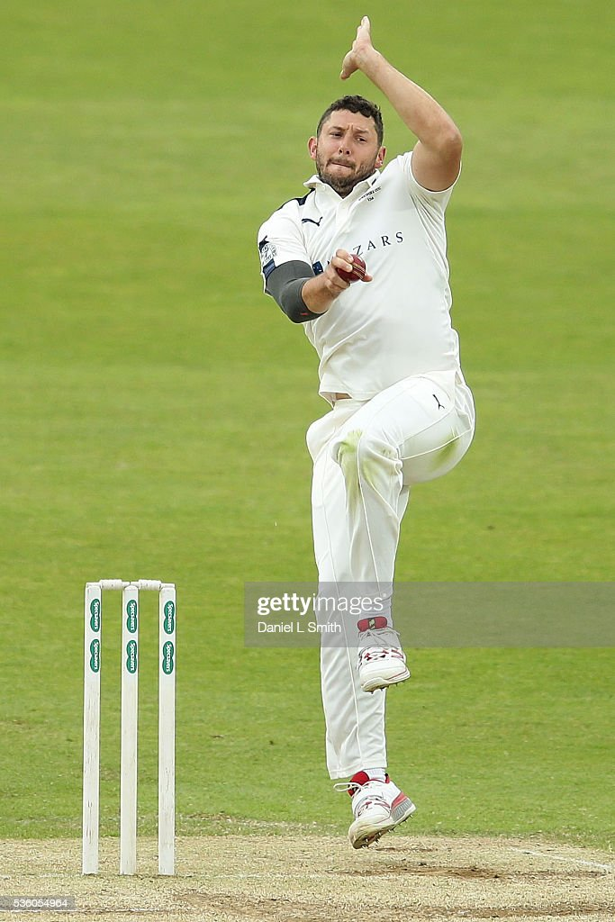 Tom Bresnan of Yorkshire bowls during day three of the Specsavers County Championship: Division One match between Yorkshire and Lancashire at Headingley on May 31, 2016 in Leeds, England.