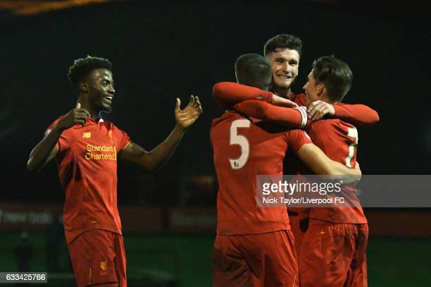 Tom Brewitt of Liverpool celebrates his goal with team mates Madger Gomes Corey Whelan and Harry Wilson during the Liverpool v Bolton Wanderers...