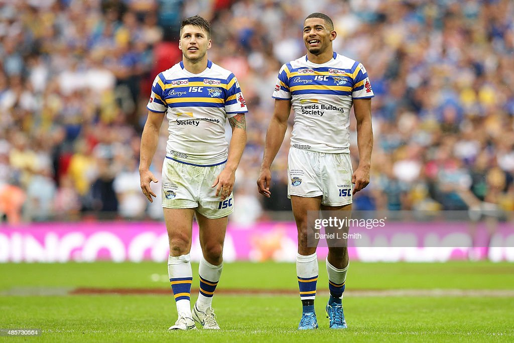 Tom Briscoe and Kallum Watkins of Leeds Rhinos have a smile after defeating Hull KR 500 during the Ladbrokes Challenge Cup Final between Leeds Rhinos...