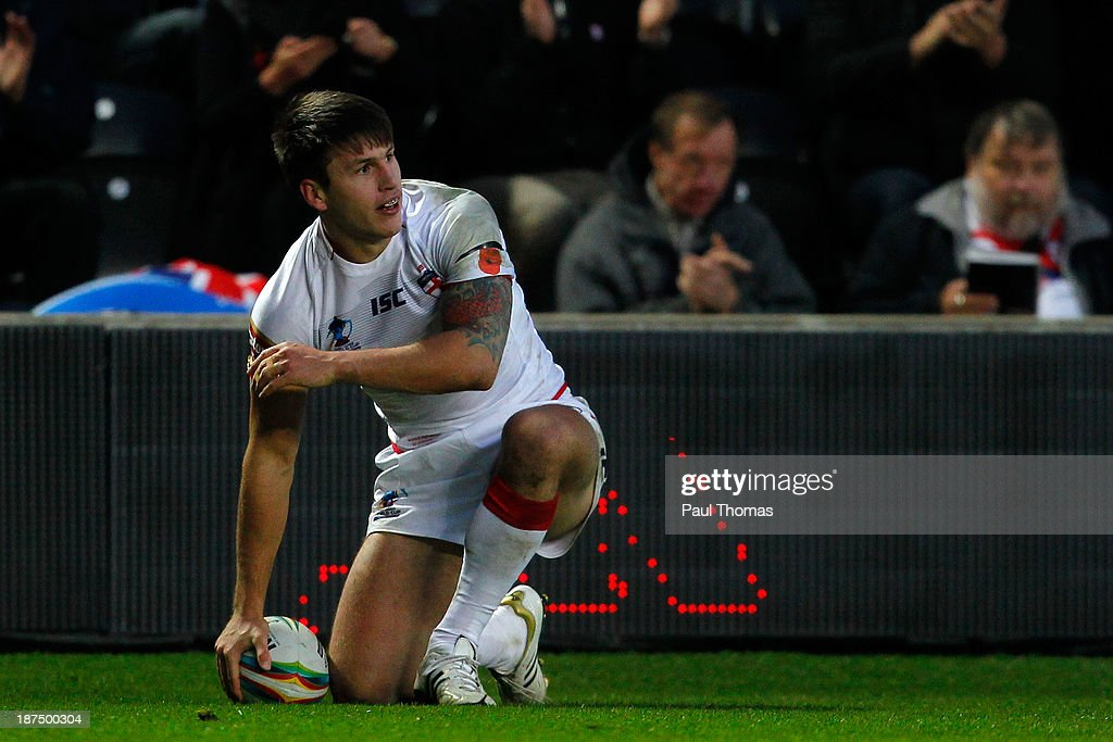 Tom Briscoe of England watches on during the Rugby League World Cup Group A match at the KC Stadium on November 9, 2013 in Hull, England.