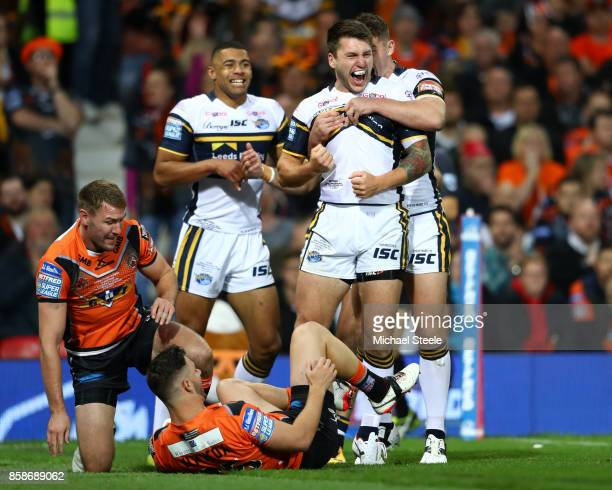 Tom Briscoe of Leeds Rhinos celebrates scoring the first try during the Betfred Super League Grand Final match between Castleford Tigers and Leeds...