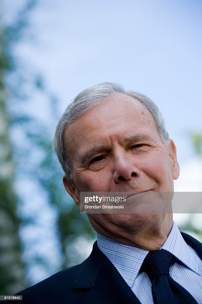 Tom Brokaw, former NBC news anchor, pauses while speaking about his friend Tim Russert to reporters outside NBC's bureau June 15, 2008 in Washington, DC. This week's Meet the Press show was a tribute to host Tim Russert who died at age 58 of a heart attack last week.