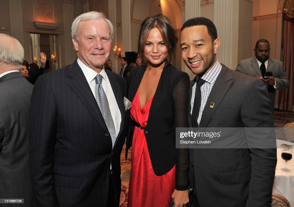 <a gi-track='captionPersonalityLinkClicked' href=/galleries/search?phrase=Tom+Brokaw&family=editorial&specificpeople=203263 ng-click='$event.stopPropagation()'>Tom Brokaw</a>, model Chrissy Teigen and <a gi-track='captionPersonalityLinkClicked' href=/galleries/search?phrase=John+Legend&family=editorial&specificpeople=201468 ng-click='$event.stopPropagation()'>John Legend</a> attend the International Rescue Committee's Annual Freedom Award benefit at the Waldorf Astoria Hotel on November 9, 2011 in New York City.