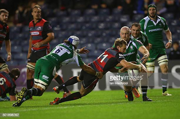 Tom Brown of Edinburgh Rugby scores a try during the European Rugby Challenge Cup match between Edinburgh Rugby and London Irish at Murrayfield...