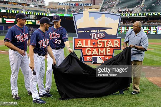 Tom Brunansky Glen Perkins Justin Morneau and Tony Oliva of the Minnesota Twins unveil the 2014 AllStar Game logo before the game against the Kansas...