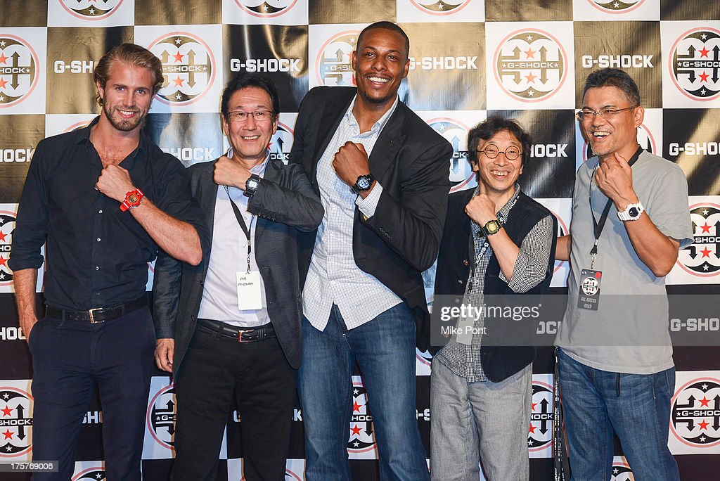 Tom Bull, Yuichi Masuda, Paul Pierce, Kikuo Ibe and Shigenori Itoh attend G-Shock - Shock The World 2013 at Basketball City - Pier 36 - South Street on August 7, 2013 in New York City.