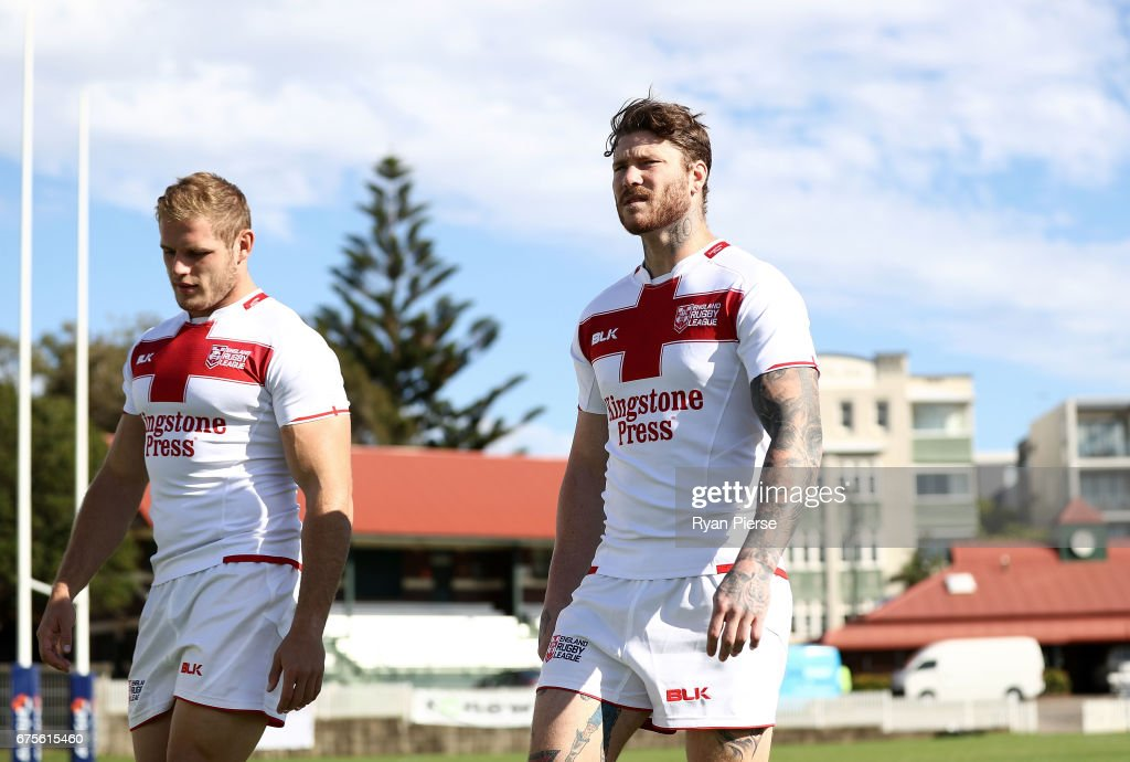 Tom Burgess and Chris McQueen of England prepare for training during an England Media Opportunity on May 2, 2017 in Sydney, Australia.