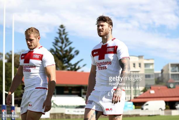 Tom Burgess and Chris McQueen of England prepare for training during an England Media Opportunity on May 2 2017 in Sydney Australia