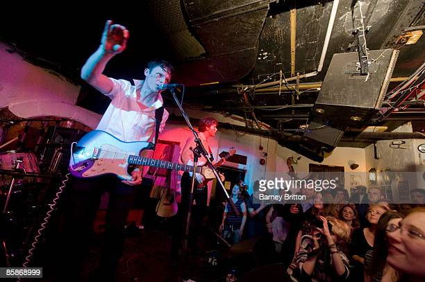 Tom Burke and Lawrence Diamond of Official Secrets Act perform on stage at Borderline on April 8 2009 in London England