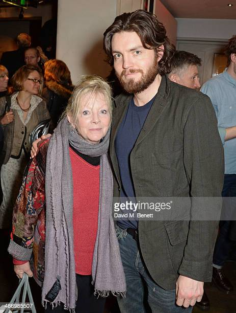 Tom Burke and mother Annie attend the press night performance of 'The Mistress Contract' with Quintessentially Vodka at the Royal Court Theatre on...