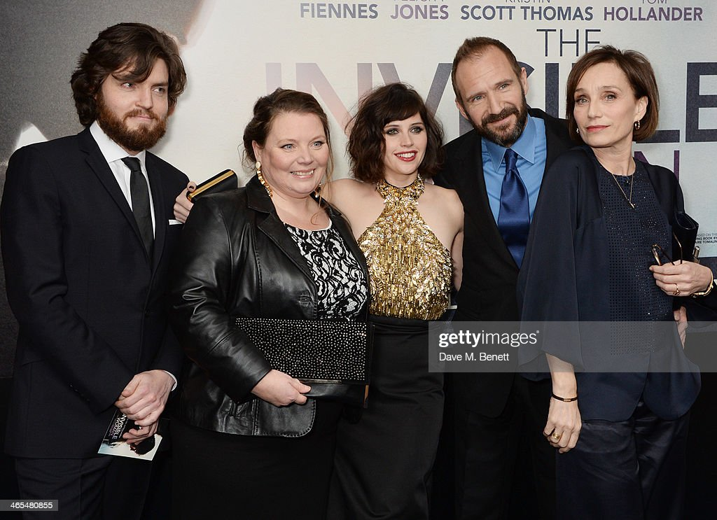 Tom Burke, Joanna Scanlan, Felicity Jones, Ralph Fiennes and Kristin Scott Thomas attend the UK Premiere of 'The Invisible Woman' at the ODEON Kensington on January 27, 2014 in London, England.