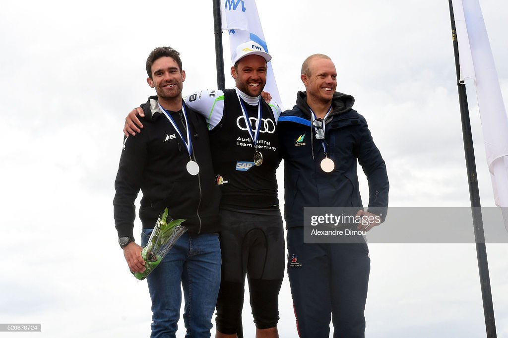 Tom Burton of Australia and Philipp Buhl of Germany and Matthew Wearn of Australia compete in Laserrace Boat during the Sailing World Cup on May 1, 2016 in Hyeres, France.