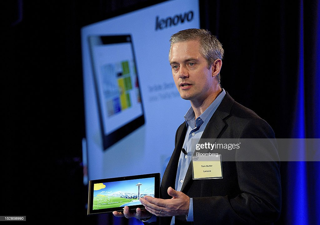 Tom Butler, director of ThinkPad marketing for Lenovo Corp., speaks during an event in San Francisco, California, U.S., on Thursday, Sept. 27, 2012. Intel Corp.'s delayed delivery of software that conserves computer battery life is holding up the development of some tablets running the latest version of Microsoft Corp.'s flagship Windows operating system, a person with knowledge of the matter said. Photographer: David Paul Morris/Bloomberg via Getty Images