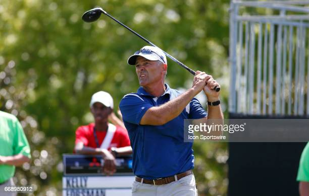 Tom Byrum tees off hole during the second round of the Mitsubishi Electric Classic tournament at the TPC Sugarloaf Golf Club Saturday April 15 in...