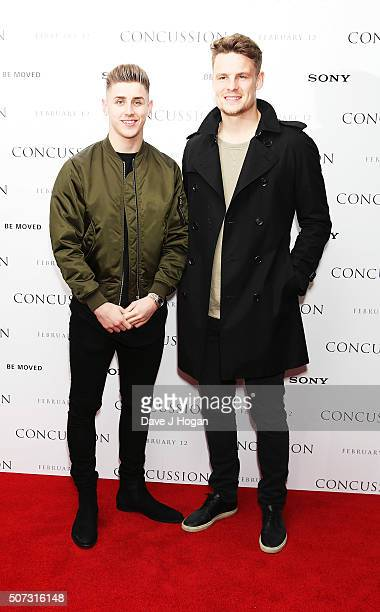 Tom Cairney and Matt Smith attend a special screening of 'Concussion' at Ham Yard Hotel on January 28 2016 in London England
