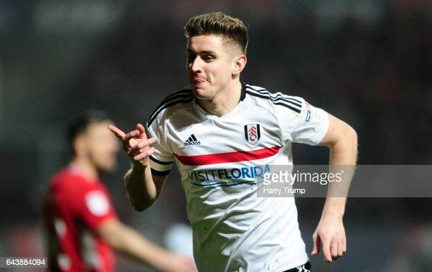 Tom Cairney of Fulham celebrates his sides second goal during the Sky Bet Championship match between Bristol City and Fulham at Ashton Gate on...