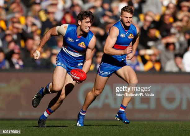 Tom Campbell of the Bulldogs in action during the 2017 AFL round 15 match between the Western Bulldogs and the West Coast Eagles at Etihad Stadium on...