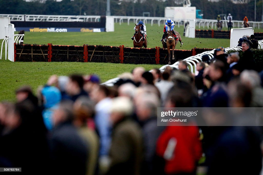 Tom Cannon riding Malibu Rock clear the last to win The Today's Racing Just £10 With RacingUK Novices' Handicap Hurdle Race at Kempton Park racecourse on February 12, 2016 in Sunbury, England.
