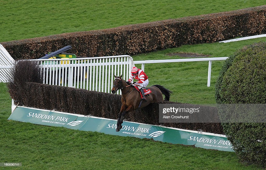 Tom Cannon riding On Trend clear the last to win The Betfred Masters Handicap Steeple Chase at Sandown racecourse on February 02, 2013 in Esher, England.