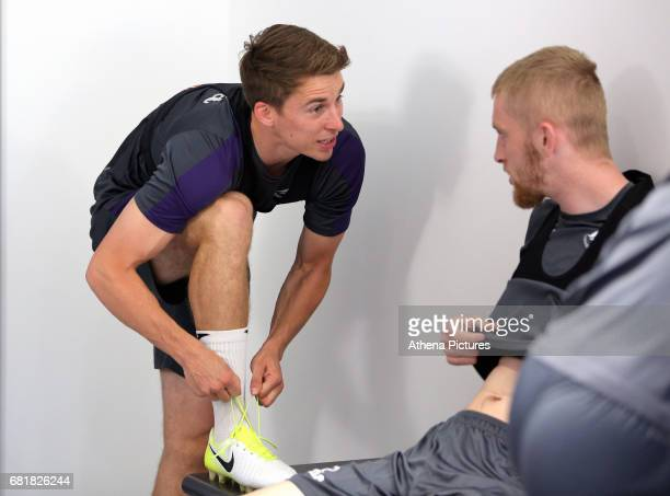 Tom Carroll and Oliver McBurnie wear their boots during the Swansea City Training at The Fairwood Training Ground on May 10 2017 in Swansea Wales