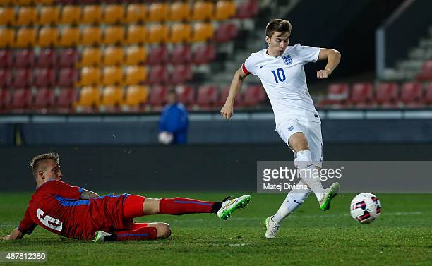 Tom Carroll of England shoots for goal during the international friendly match between U21 Czech Republic and U21 England at Letna Stadium on March...