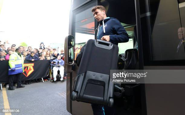 Tom Carroll of Swansea City arrives at Vicarage Road Stadium prior to kick off of the Premier League match between Watford and Swansea City at...