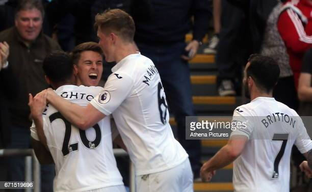 Tom Carroll of Swansea City celebrates his goal during the Premier League match between Swansea City and Stoke City at The Liberty Stadium on April...