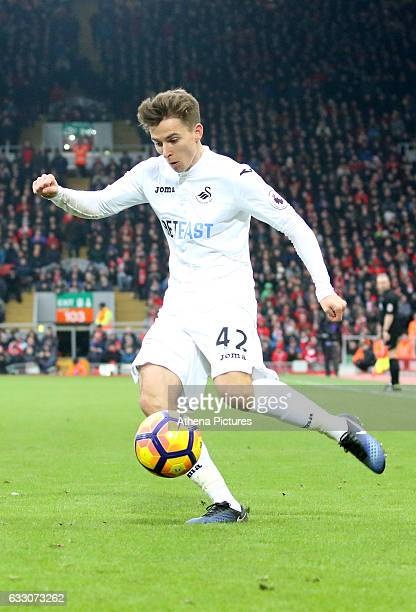 Tom Carroll of Swansea City crosses the ball into the box for Fernando Llorente of Swansea City to score Swanseas second goal of the Premier League...