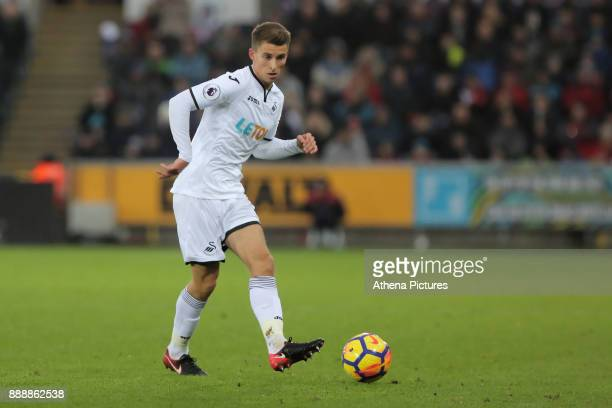 Tom Carroll of Swansea City in action during the Premier League match between Swansea City and West Bromwich Albion at The Liberty Stadium on...