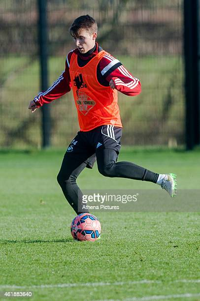 Tom Carroll passes the ball during the Swansea City Training Session on January 21 2015 in Swansea Wales