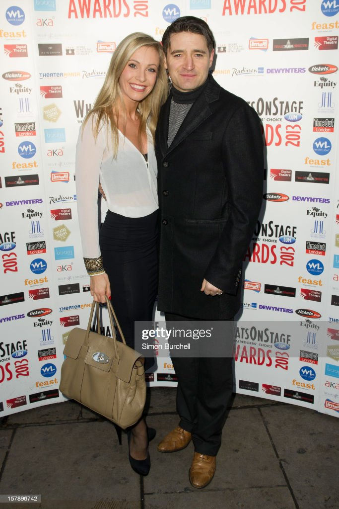 Tom Chambers (R) and Claire Chambers attend the Whatsonstage.com Theare Awards nominations launch at Cafe de Paris on December 7, 2012 in London, England.