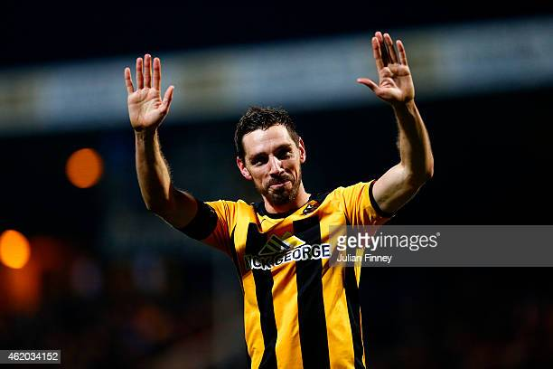 Tom Champion of Cambridge United salutes the fans after the FA Cup Fourth Round match between Cambridge United and Manchester United at The R...