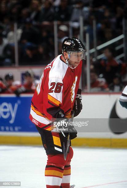 Tom Chorske of the Calgary Flames skates on the ice during an NHL game against the Mighty Ducks of Anaheim on March 28 1999 at the Arrowhead Pond in...