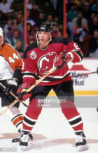Tom Chorske of the New Jersey Devils skates on the ice during an NHL game against the Philadelphia Flyers on February 14 1993 at the Spectrum in...