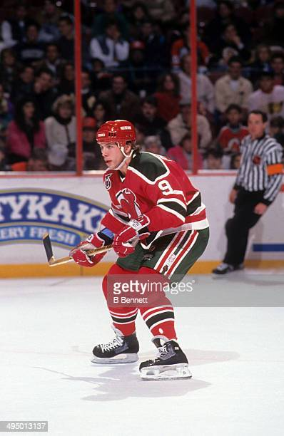 Tom Chorske of the New Jersey Devils skates on the ice during an NHL game against the Philadelphia Flyers on December 8 1991 at the Spectrum in...